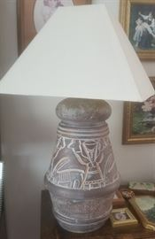 Ceramic Incan inspired motif large lamp and shade in perfect working shape.