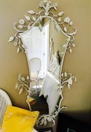 White metal designer mirror with leaf motif