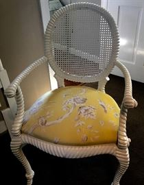 Two white roped armchairs with cane back and upholstered in high-end designer fabric. Perfection!