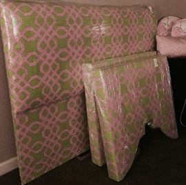 "Queen size, upholstered Lilly Pulitzer fabric headboard, and pair of matching upholstered cornices, 34"" W x 32"" L"