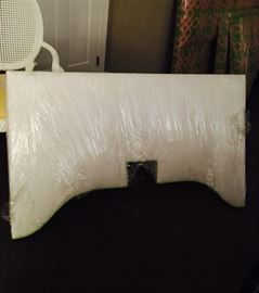 "One, gorgeous upholstered window cornice with white designer fabric and mint green trim, 48"" w."