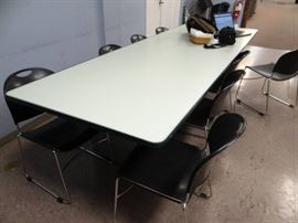 Cafeteria Style Table With Light Green Top And Rub ...