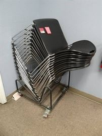 (25) Stackable Black And Chrome Chairs