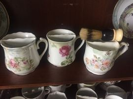 Sampling of large variety of shaving mugs and brushes going back to the 1800s