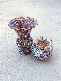 Murano millefiori glass vases!
