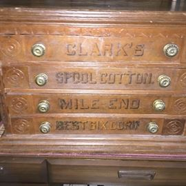 Antique Clark's 4 drawer spool cabinet