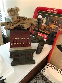 STEIFF LEOPARD, TOM THUMB CASH REGISTER, METAL BOOK HOLDER, COCA COLA TRAYS