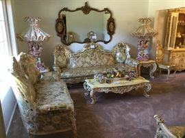 French Provincial Paradise.  Ornate Furniture.  Capodimonte porcelain