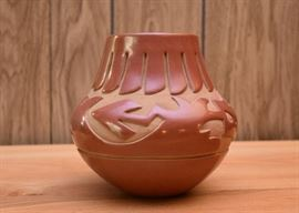 "BUY IT NOW! $220 Red Ware Santa Clara Pottery, Signed by Sharon Naranjo Garcia (7"" H)"