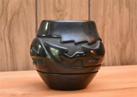 "BUY IT NOW! $180 - Black Santa Clara Pottery with Avanyu Design, Signed by Stella Chavarria (5.5"" H)"