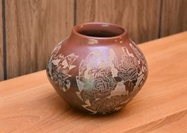 "BUY IT NOW! $130 - Red Ware Santa Clara Sgraffito Pottery, Signed by Gwen Tafoya (5.25"" H)"