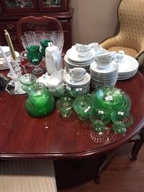 Block and optic green depression glass