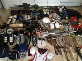Sports equipment, tennis, soccer, hockey, ski, helmets