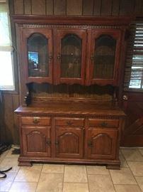 Oak china cabinet.