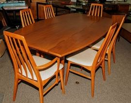 "KIPP STEWARD ""PARALLEL"" TABLE FOR DREXEL  AND 6  KOEFOEDS ""EVA"" CHAIRS"