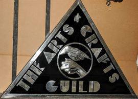 RARE ONE OF KIND ~ LARGE 2 SIDED WITH ORIGINAL METAL HANGER...ART DECO SIGN [ POLISHED METAL AND VITROLITE ]  BOSTON ARTS & CRAFTS GUILD ~ c 1935