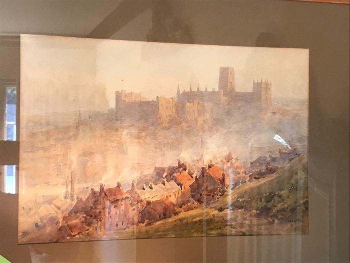 Watercolor of Durham Castle