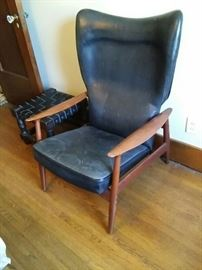 Leather and Wood Recliner Chair
