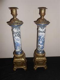 antique brass porcelain candlesticks