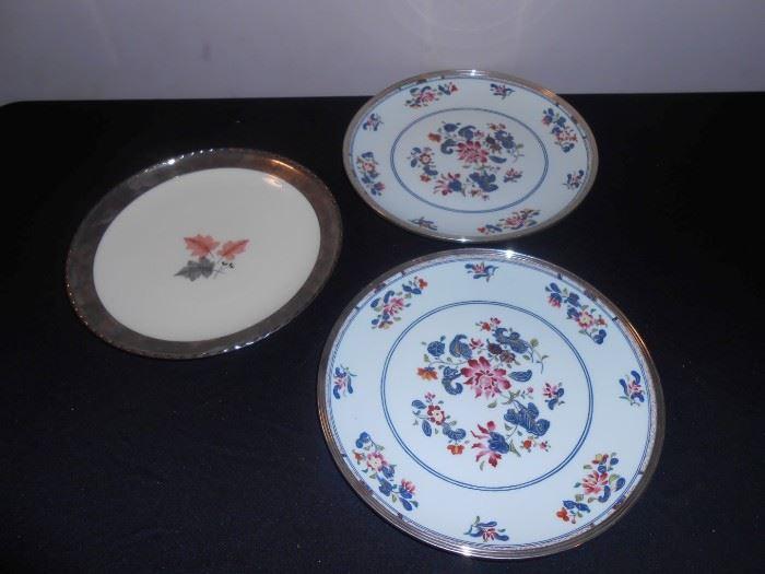 silver rimmed limoges plates