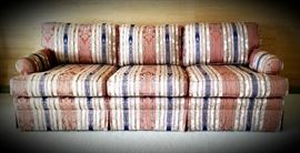 traditional custom-upholstered striped sofa