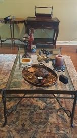 Coffee tables, side tables, area rug and decor.