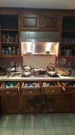 Kitchenware, pots, pans, cooking utensils, canisters, glassware, chine, pottery...etc.