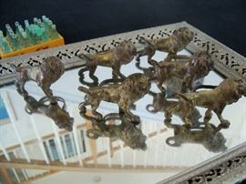 6 antique Italian lion napkin rings