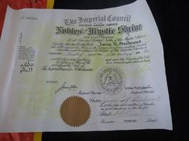 1949 certificate for the Shriner's flag