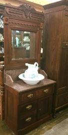 True antique.  Eastlake wash stand with mirror.  Original owner delivery information is on the bottom.  Mrs Thompson, Ashwood, Tenn.  Ashwood is part of Colombia TN.  Ashwood from what I have read was part of Ashwood Plantation.