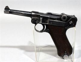 "Mauser Luger P 08 ""42"" German Nazi Pistol, 9mm, SN# 6411, Nazi Eagle Markings, Includes Leather Holster, 2 Mags, and Take Down Tool"