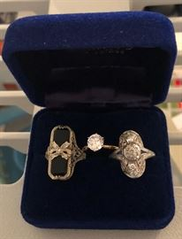 14 k ring (left) Platinum Ring (right)