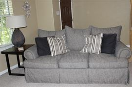 Bernhardt Gray Tweed 3 Cushion Sofa with 3 loose plush Back Pillows