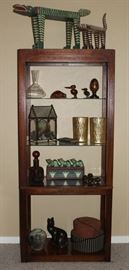 """Cherry Wood Finish Glass Shelf Lighted Etegere (73 1/2""""H x 32""""W x 16"""" D) shown with Misc. Decorative Accessories"""