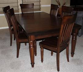 """Mahogany Finish Dining Table with 6 Side Chairs         (45"""" W x 81""""L) including the 2 - 18"""" Leaves. Will break down to a 45"""" Square Table)"""