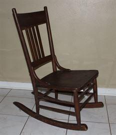 Antique Slat Back Solid Wood Seat Nursing/Sewing Rocker