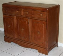 "Vintage Plantowsky Furniture Co.  Galveston, Texas Small Art Deco Sideboard (36""H x 46""W x 18 1/2""D)"