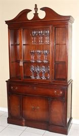 Vintage Mahogany Duncan Phyfe Style Breakfront China Cabinet.  Schreiber & Miller Furniture Company Galveston, Texas stenciled on back.