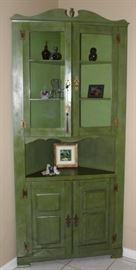 "Vintage Antiqued Green Painted Corner Cabinet (84""H x 37""W x 17"" Center Depth)"