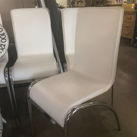 set of 4 white leather clean modern