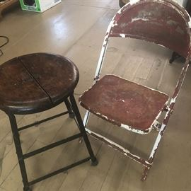 antique stool with Shabby