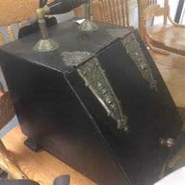 coal scuttle antique/shoval....other hand wrought fire place tools/hand forged