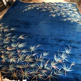 Vintage Chinese Carpet  9' x 14' Bamboo on deep blue hand woven wool Nice condition