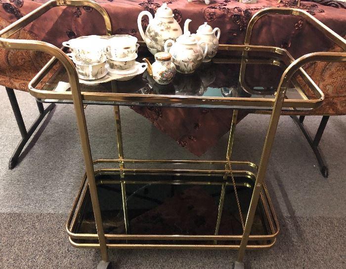 brass tea cart