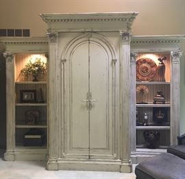 "Beautiful HABERSHAM WALL UNIT  Measuremes Aprox  Bookcase: 7' H x 33"" W x 21"" D Main unit: 95"" H x 57"" W x 35"" D"
