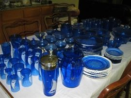 Large Collection Blue Depression Glass, Shirley Temple, etc. Sailboats and Royal Lace, many rare pieces