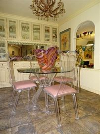 Lion in Frost New York lucite dining table and chairs
