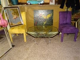 Mid-Century Turner Flamingo Print and Design Masters Furniture Side Chairs