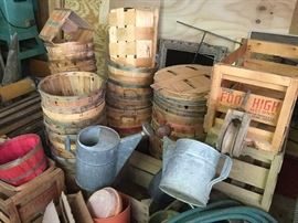 Apple crates and pickers baskets