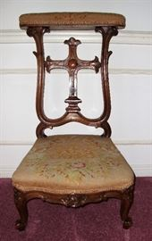 "LATE 1800's ""PRIE DIEU"" - ANTIQUE FRENCH CARVED PRAYER CHAIR with NEEDLEPOINT UPHOLSTERY"